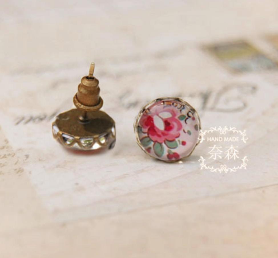 Pink Rose on White Earring