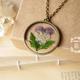 Pressed Purple Flower Bronze Necklace