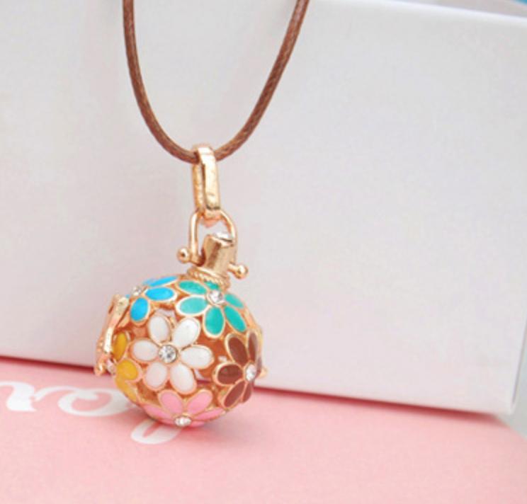 Pink/Blue Flower Ball Necklace