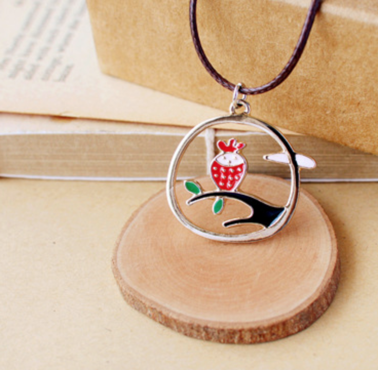 Red Owl on Circle Necklace