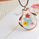 Totoro Pressed Flowers Necklace
