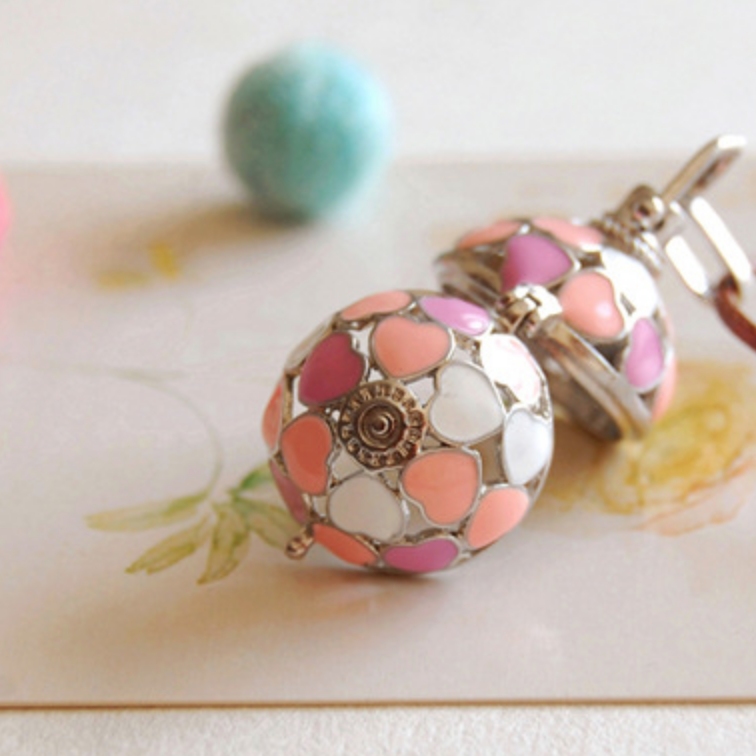 Pink Heart Silver Ball Necklace