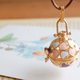 Pink Heart Gold Ball Necklace