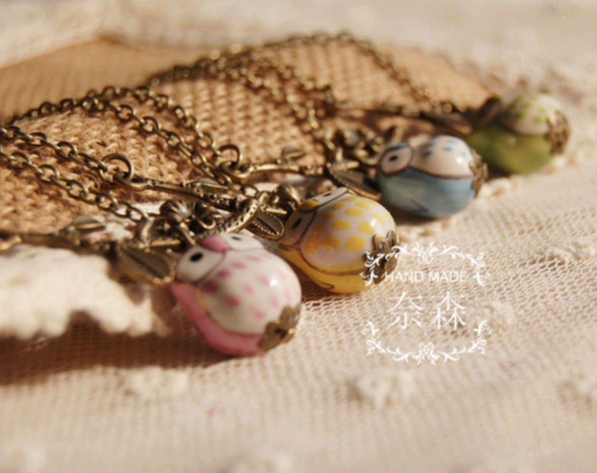 Ceramic Owl Blue Vintage Necklace