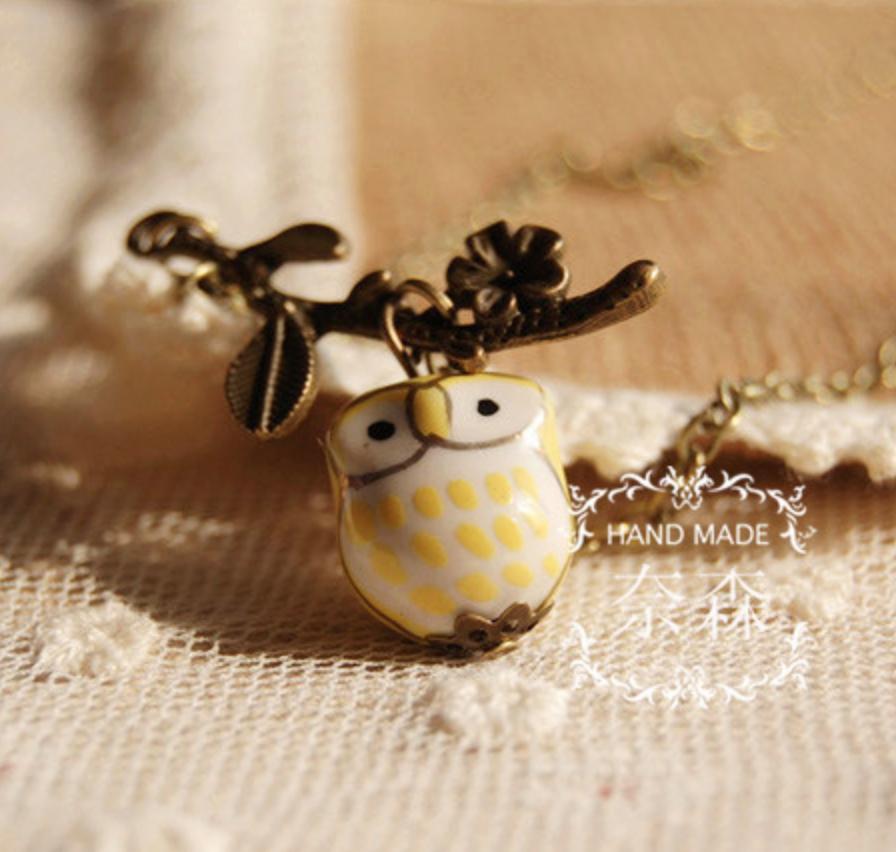 Ceramic Owl Yellow Vintage Necklace