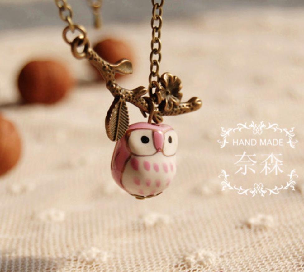 Ceramic Owl Pink Vintage Necklace