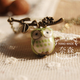 Ceramic Owl Green Necklace