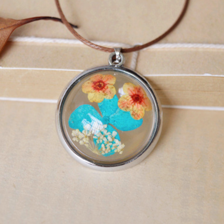 Orange and Blue Pressed Circle Necklace