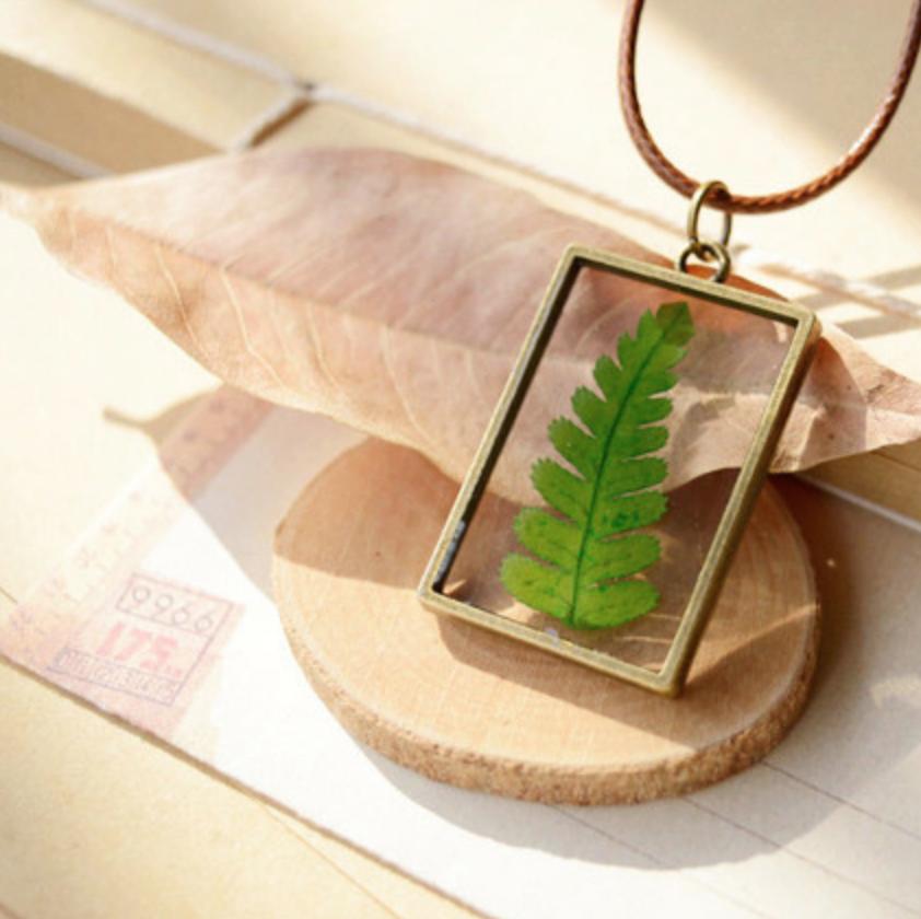 Pressed Leaf Rectangle Bronze Necklace