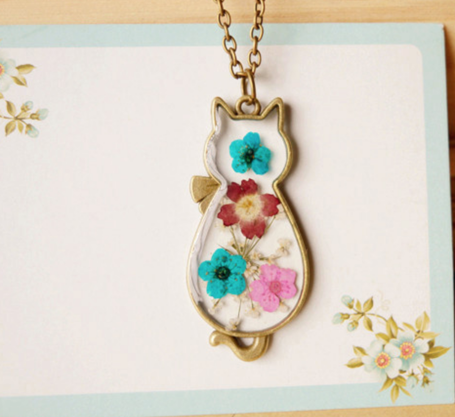 Pressed Blue and Pink Cat Bronze Necklace