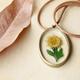 Pressed Sunflower Bronze Necklace
