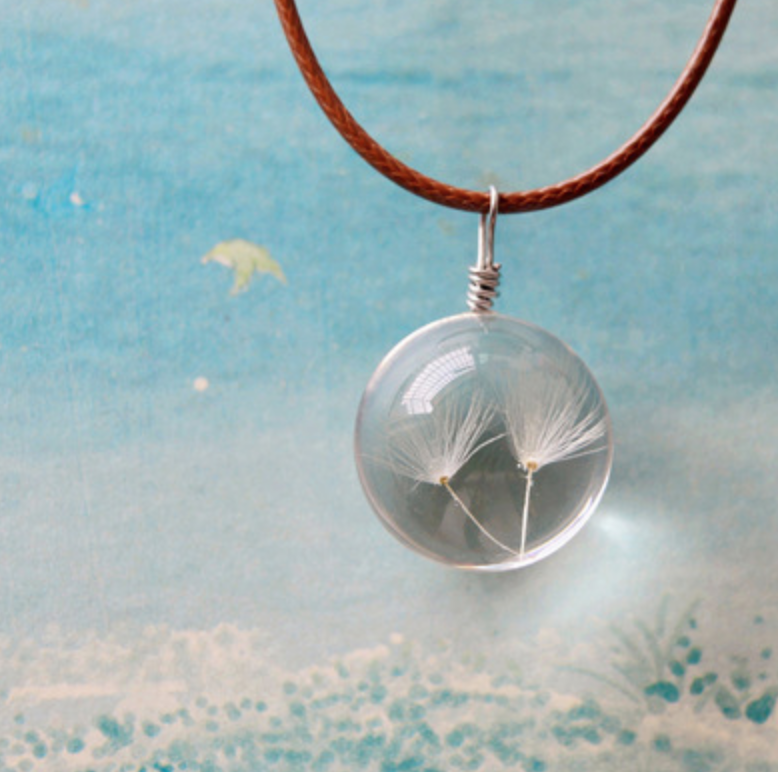 Dandelion Leaf Glass Necklace