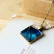 Blue Sky Square Bronze Necklace