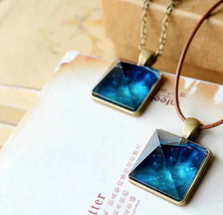 Blue Sky Square String Necklace