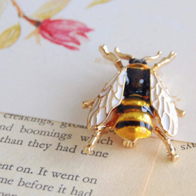 Vintage Black Bee Pin