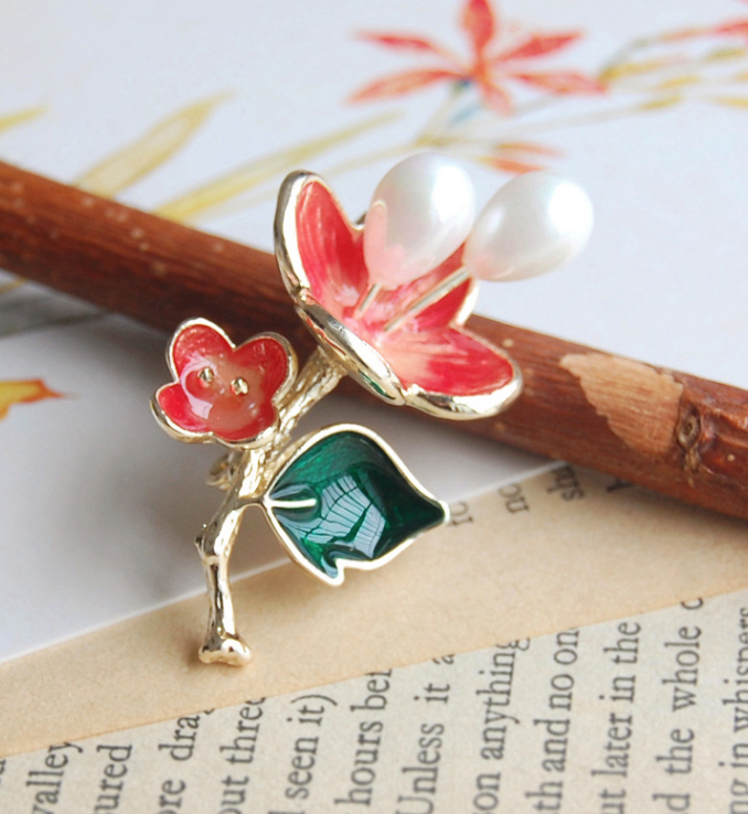Red Flower with Pearl Pin