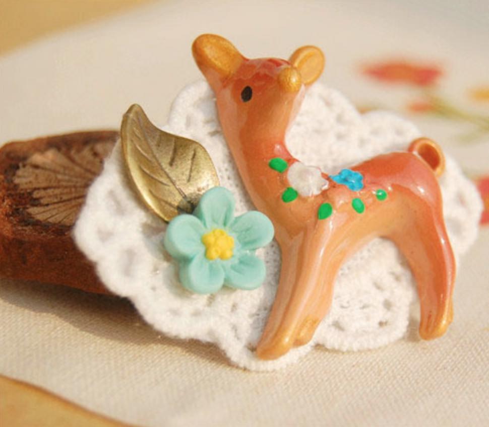 Vintage Ceramic Deer on Fabric Pin