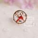 Orange Deer Antler Bronze Ring
