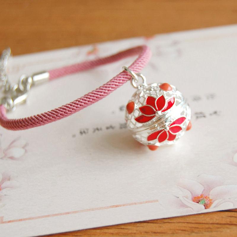 Red Lotus Silver Bracelet