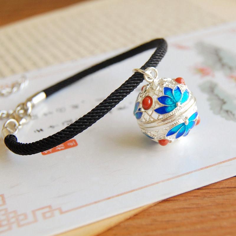 Blue Lotus Silver Bracelet