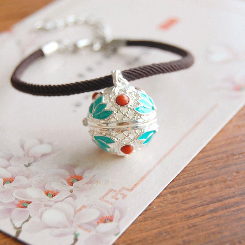 Teal Lotus Silver Bracelet