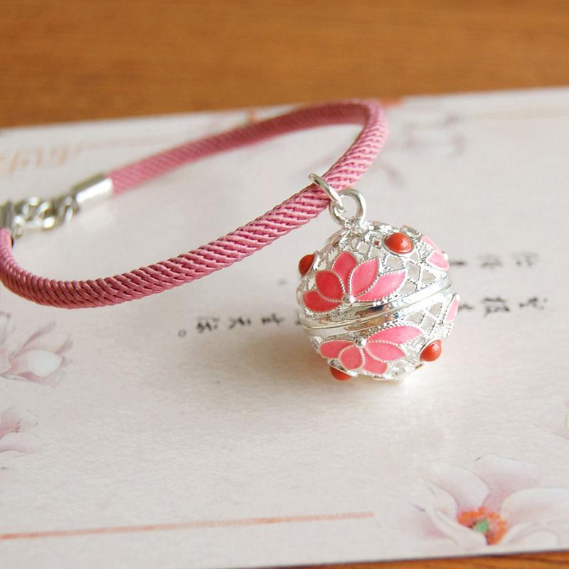 Pink Lotus Silver Bracelet