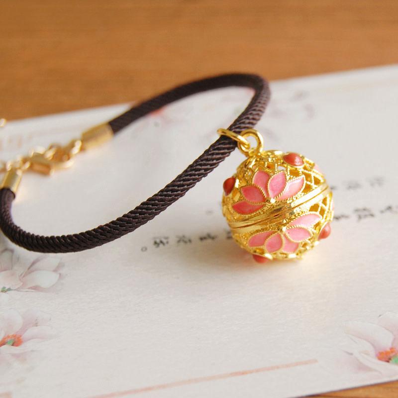 Pink Lotus Gold Bracelet