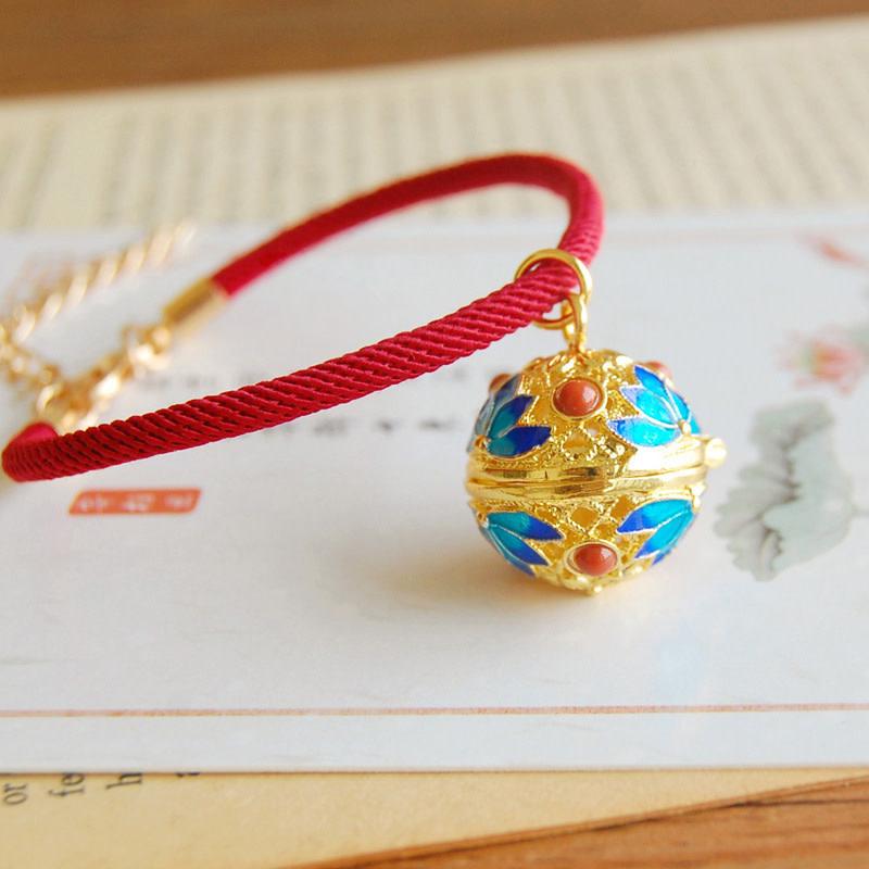 Teal Lotus Gold Bracelet