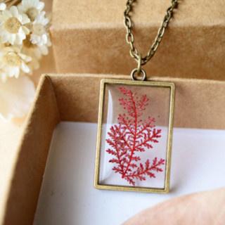 Pressed Red Leaf Bronze Necklace