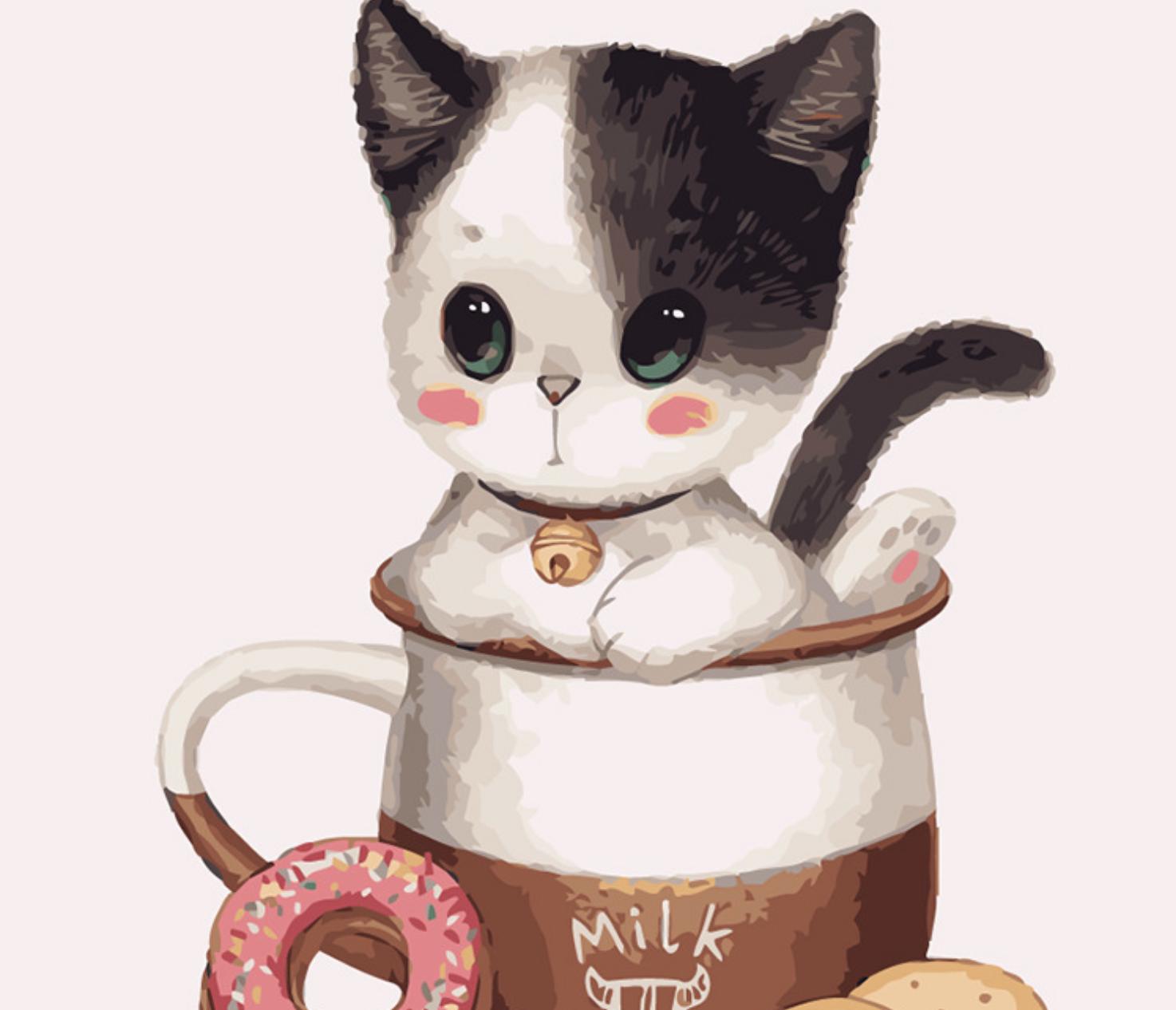 Cat in Milk Mug DIY Painting