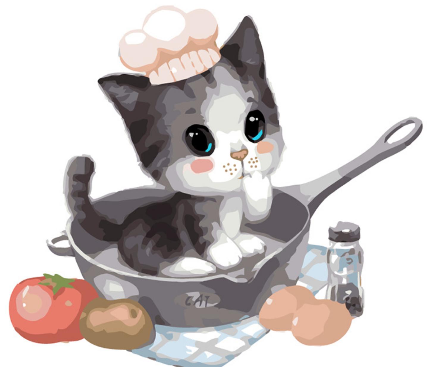 Cat in Cat Pan DIY Painting