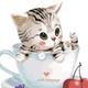 Cat in Cat Language Mug DIY Painting