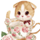 Cat in Fancy Rose Tea Cup DIY Painting