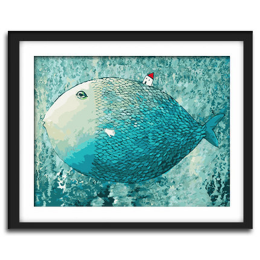 Big Blue Fish with Small Red House DIY Painting