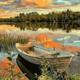 Canoe under the Sunset DIY Painting