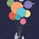 Astronaut with Planet Balloon DIY Painting