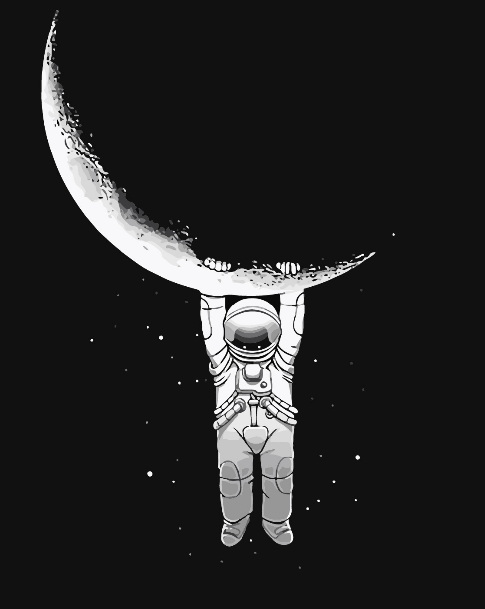Astronaut Hanging on the Moon DIY Painting