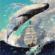 Whale over Ship DIY Painting