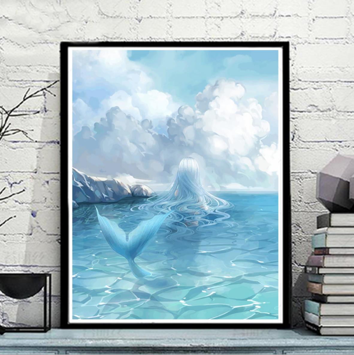 Blue Mermaid in the Sea Day DIY Painting