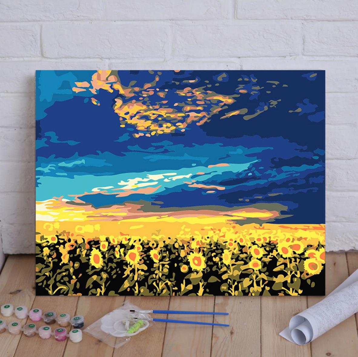 Sunflowers under the Sunset DIY Painting