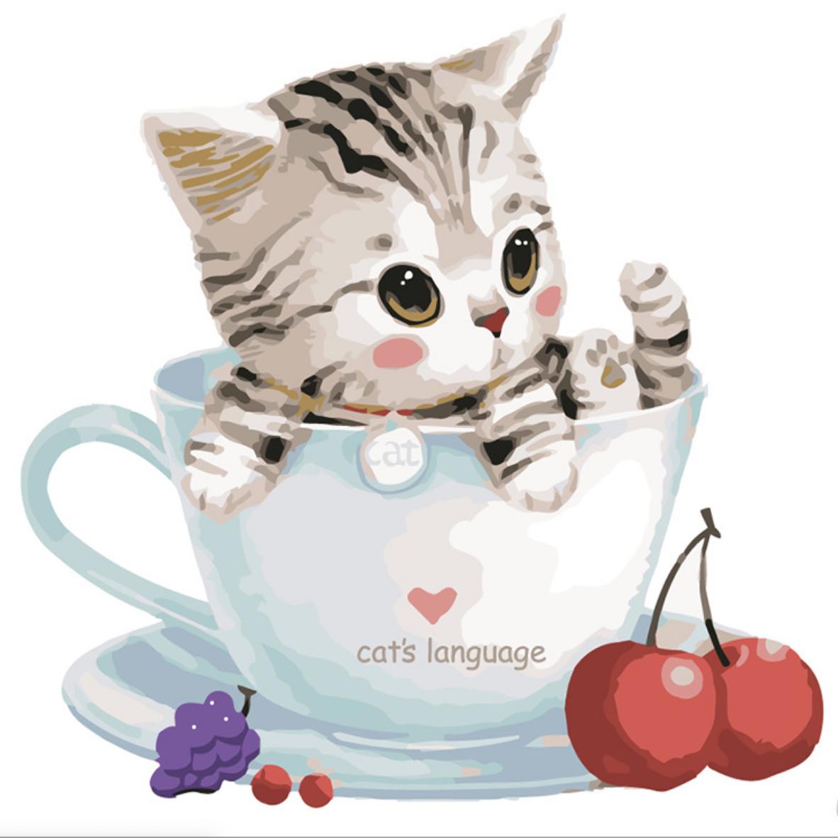 Tabby Cat in Cat Language DIY Painting