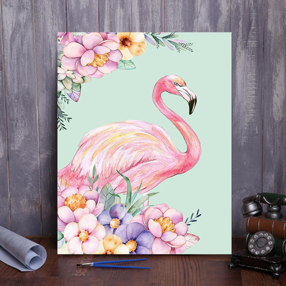 Pink Flamingo Flowers DIY Painting