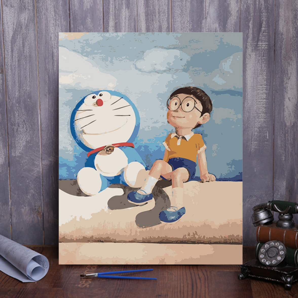 Doraemon at the Beach DIY Painting