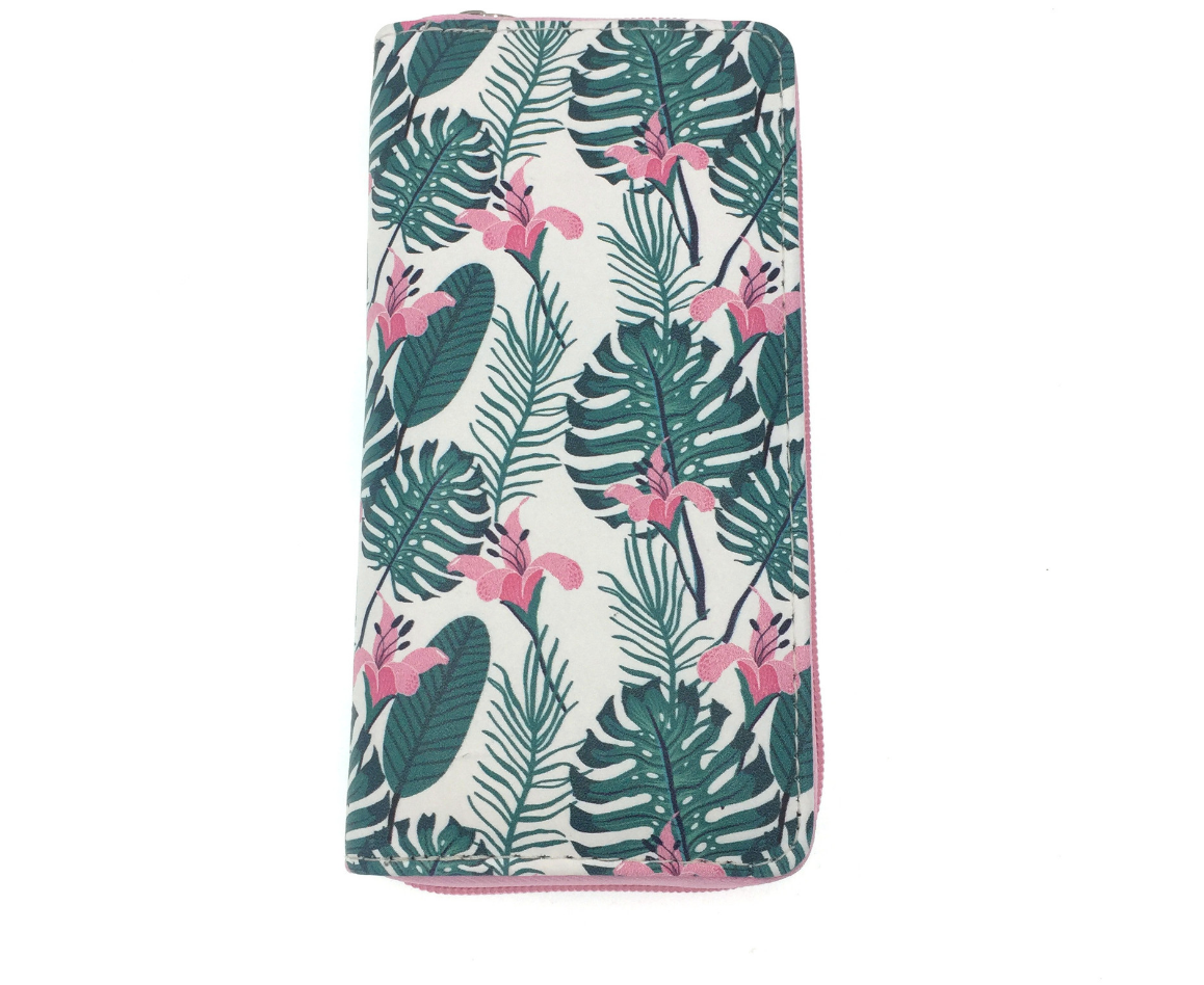 JR-336 White and Green Palm Tree Wallet