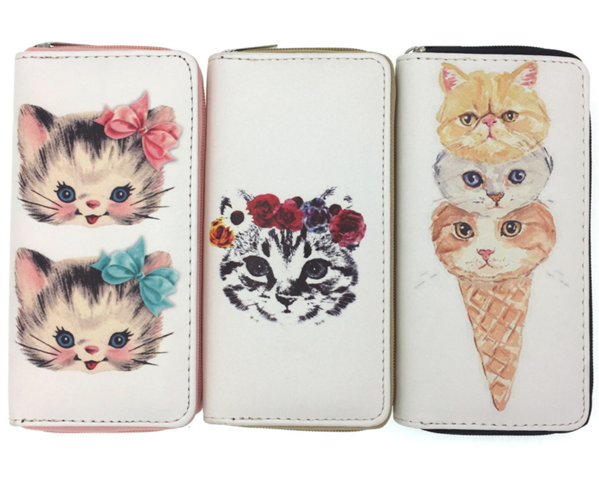 JR-048 Tabby with Flower Crown Wallet
