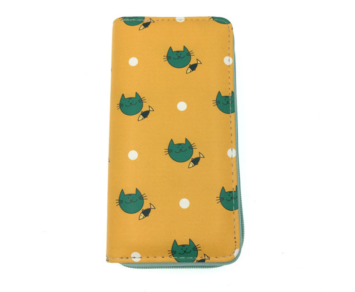 JR-556 Green Cat with Fish Wallet