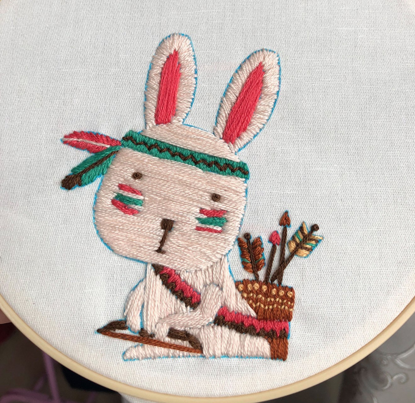 Tribal Rabbit 15cm Embroidery