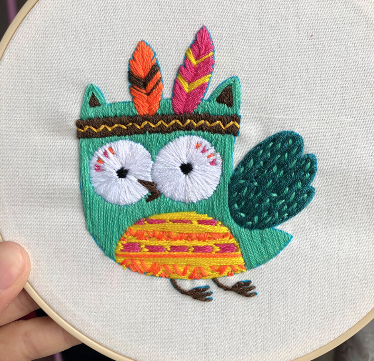 Tribal Owl 15cm Embroidery