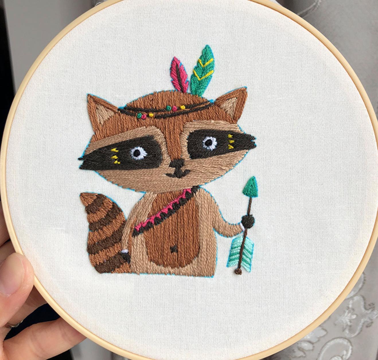 Tribal Raccoon 15cm Embroidery
