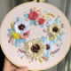 White and Yellow Wreath with Blue Petal 20cm Embroidery